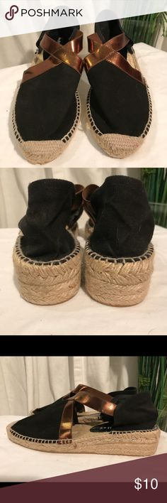 Bettye Muller Espadrilles I've never seen anything like these Espadrilles, metallic gold strap w/Black. They are from Spain. Size 38, never worn. No damage, in excellent condition! Bettye Muller Shoes Espadrilles