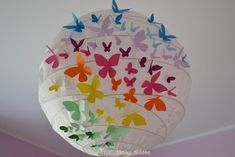 Tanika di Idee. Lampadario di carta decorato....bats for Halloween, color hued dots/ baby shower/painting party...