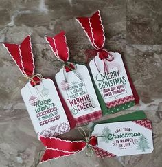 Stampin' Up! Demonstrator stampwithpeg – Wrapped in Warmth & Cheer : Christmas Gift Tags. My first play with this lovely new suite from Stampin' Up! Warmth & Cheer, and I must s…