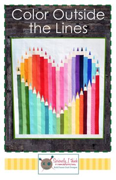 """Quilt: """"Color Outside the Lines"""" Pencil Quilt by Kelli Fannin Quilt Designs with Riley Blake Crayon Box solids."""