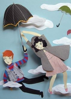 Print - Flying Umbrellas. $20.00, via Etsy.