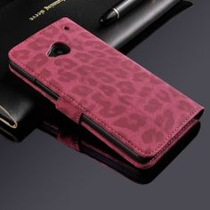 Leopard Print Flip Wallet Stand Leather Case Cover For HTC ONE m7-Red [4271] - US$6.90 : skybessmall.com