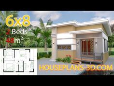 Small House Design Plans with 2 Bedrooms Full Plans - House Plans Simple House Plans, Simple House Design, Dream House Plans, Tiny House Design, House Layout Plans, House Layouts, Flat Roof House, House Construction Plan, 2 Bedroom House Plans