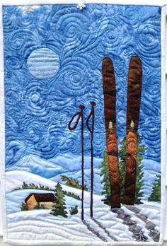winter art quilt : skiing under the moon pattern on Craftsy.com