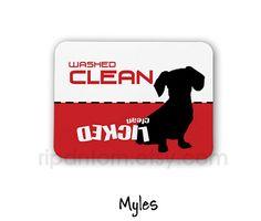 Clean Dirty Dishwasher Magnet Weiner Dog Design by RipdNTorn