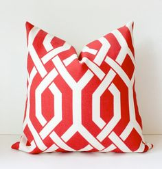 Trellis Modern Geometric Designer Pillow 20 Red Watermelon Ivory Cream Accent Throw Cushion Cover hollywood regency imperial tomato coral. $42.00, via Etsy.