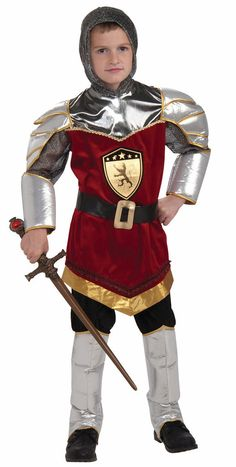 #66930 / 66931 / 66932 Slay fire breathing dragons as the Dragon Slayer this Halloween. The Dragon Slayer Child Costume includes a full body knight jumpsuit with attached red tunic. The costume is acc