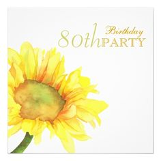 """Golden Watercolor Sunflowers 80th Birthday Party 5.25"""" Square Invitation Card"""