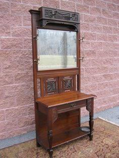 Antique Walnut Mirror Hall Stand Hat Coat rack 1 drawer umbrella holders ca 1870
