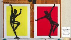 Zurzeit in Arbeit: abstrakte Tänzer von Manuel Süess, die Tänzerin modellierte Manuel mit Strukturpaste ca. 1cm dick auf die Leinwand, beim Tänzer ist erst die Grundschicht fertiggestellt, worauf dann in einem nächsten Schritt die Körperformen aufgebaut werden. Modeling Paste, Moose Art, Canvas Art, Animals, Art Ideas, Animaux, Animales, Canvas Paintings, Animal