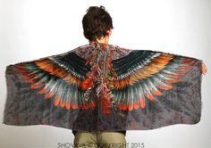 Flügel Kids Schal, böhmische Vogel Federn Schal, Spark, handgemalt, Digitaldruck, Sarong, perfekte Weihnachtsgeschenke.