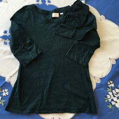 Anthropologie postmark top size small flaw Beautiful green/blue 3/4 length sleeve top from  Anthropologie by Postmark. This has a tiny hole near the left armpit.  See 3rd picture.  Overall good condition otherwise.  Great for work. Anthropologie Tops Tees - Short Sleeve