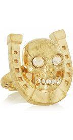 Alexander McQueenSwarovski crystal skull and horseshoe ring £180