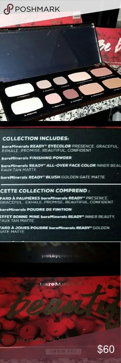BRAND NEW BARE MINERALS MAKE-UP PALLET Brand New - BARE MINERALS - READY EYE COLOR,  READY BLUSH, READY ALL OVER FACE POWDER, AND FINISHING POWDER. VALUED AT $126. bareMinerals Makeup