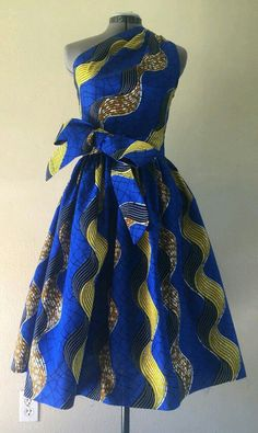 Make a Statement African Wax Print One Shoulder Dress Cotton With Side Zipper and Removable Tie Sash Royal Blue Yellow Brown Wavy Print African Inspired Fashion, African Print Fashion, Africa Fashion, Fashion Prints, Modern African Fashion, African Print Dresses, African Fashion Dresses, African Dress, African Prints
