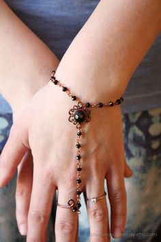 Bracelet with Ring Copper and Black by SusyDeMarchiJewelry on Etsy