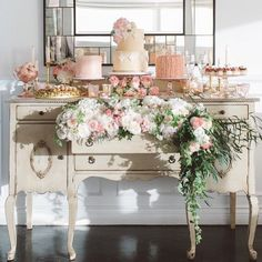 The French Comfection Co. | Beautiful French inspired dessert table from a Malibu wedding. #desserttablescapes