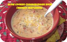 SLOW COOKER CHEESEBURGER SOUP - I tried this with ground turkey. I seasoned it with Worcestershire when I browned it since turkey tends to be bland. Also threw in cubed hash browns for potato to make it chunkier. Would make again, may add more seasonings.