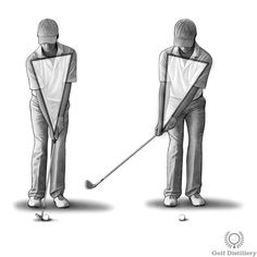 "Focus on keeping the 'Y' shape formed by your arms and clubs intact early in your swing, i.e., during the takeaway. The image here reflects the fact that when you are holding a club at address, your forearms together form the two upper branches of the ""Y"" letter while the club itself represents the bottom straight line. The idea is to keep this figure intact during the takeaway."