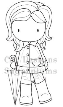C.C. Designs - Cling Mounted Rubber Stamp - Rainy Day Emma,$5.99