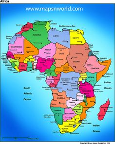 African Political Map, includes north, west, east and southern