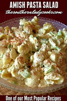 chicken side dishes Easy, delicious salad that is wonderful for any gathering or occasion. One of our most popular recipes. Amish Pasta Salad Recipe, Easy Salad Recipes, Easy Salads, Pasta Recipes, Easy Meals, Cooking Recipes, Amish Macaroni Salad, Most Popular Recipes, Favorite Recipes