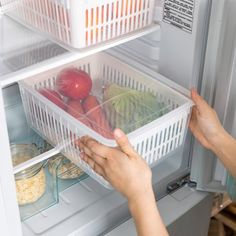 Features: Container comes with a drainer platform Clear design for easy visibility Maximize and organize fridge space easily Dimensions: (L) x (W) x (H) inches Fruit And Vegetable Storage, Fruit Storage, Freezer Storage, Food Storage Boxes, Refrigerator Organization, Kitchen Cabinet Organization, Storage Containers, Kitchen Storage, Storage Spaces