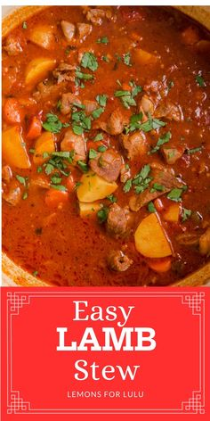 If you are looking for comfort food you've come to the right place! This lamb stew is a simple one-pot meal that is sure to please! Lamb is tender and flavorful and tastes great after simmering in a pot full of veggies! For more lamb recipes, visit lemonsforlulu.com