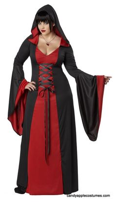 Plus Size Black/Red Hooded Robe Costume - Candy Apple Costumes - Browse All Plus Size Costumes