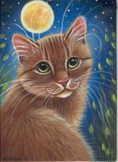 Orange Tabby Cat Summer Night Acrylic Painting