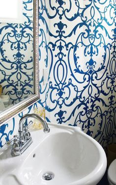 This fabulous indigo and white wallpaper was used in a renovation shown on the blog Lark & Linen (Toronto designer, Jacqueline Clark).