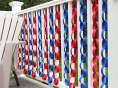 Easy Patriotic Decorating Ideas - paper chains behind food tables.