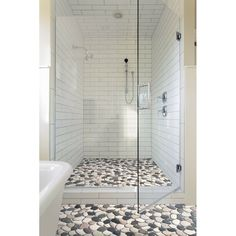 Pebble Tile Classic Random Sized Natural Stone Pebbles Mosaic Wall & Floor Tile & Reviews: pebble | Wayfair Pebble Mosaic Tile, Marble Mosaic, Mosaic Wall, Wall Tile, Pebble Shower Floor, Tile Floor, Shower With Subway Tile, Small Tile Shower, Rock Tile