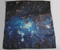 "Galaxy Nebula Print Silk Square Scarf ""Blue Haze"""
