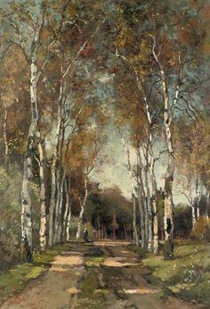 Théophile Emile Achille de Bock - A birch-lined lane; Medium: oil on canvas