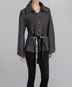 Another great find on #zulily! Black & Gray Stripe Bow Jacket by Nicole Sabbattini #zulilyfinds