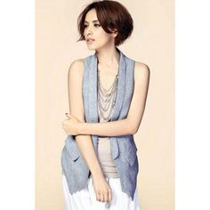 All Match Cool Long Slim OL Buttonless Suit Vest for Women Free Shipping