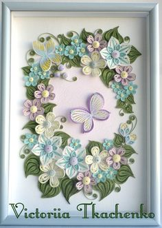 Qilling Artwork with flowers and butterflies