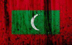 Download wallpapers Maldives flag, 4k, grunge, flag of Maldives, Asia, Maldives, national symbols, Maldives national flag