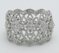 10K White Gold Diamond WIDE Wedding Band Anniversary Ring. $679.00, via Etsy.