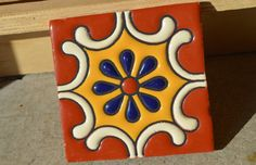 6 Mexican Talavera Tiles handmade Hand painted 4 by MexicanTiles Cerámica Ideas, Painted Rocks, Hand Painted, Talavera Pottery, Clay Tiles, Mexican Art, Barn Quilts, Sculpture Clay, Mosaic Patterns