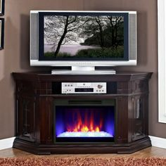 corner elec fireplaces | ... Corner Electric Fireplace Media Console - Electric Fireplaces at