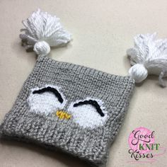 Knit Owl Hat – Kate Zander – Join in the world of pin Baby Hats Knitting, Crochet Baby Hats, Loom Knitting, Booties Crochet, Free Knitting, Diy Crafts Knitting, Knitting Projects, Knitting Ideas, Owl Knitting Pattern