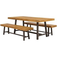 Best Choice Products 3 Piece Acacia Wood Picnic Style Outdoor Dining Table Furniture Image 3 of 6