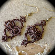 Tatted Earrings  Victoriana  Chocolate Brown ♥ by TotusMel on Etsy