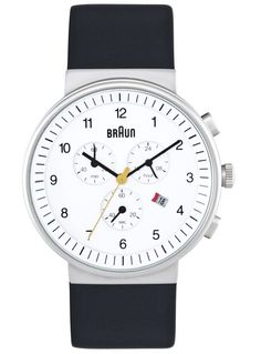 Braun Analog Chronograph Watch Black Leather