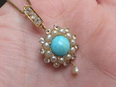 Fine Victorian Turquoise,seed Pearl & white Sapphire 15k gold pendant on chain | Love the dangle pearl