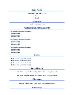 on this a4 size resume titles are centered and professional achievements take center stage on