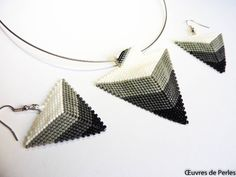 Seed beads jewelry set of Miyuki earrings and pendant Beadweave jewelry set Beaded jewelry set gift for her - This beadwave jewelry set of earrings and pendant is very light and handmade white, grey and noir M - Beads Jewelry, Etsy Jewelry, Resin Jewelry, Wire Wrapped Jewelry, Beaded Earrings, Jewelry Sets, Jewelery, Pendant Jewelry, Pearl Pendant