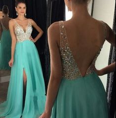 Mint Chiffon with Beaded Prom Dresses,Long Pageant Dresses,Senior Formal Dresses,PD2043